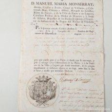 Manuscritos antiguos: SALVOCONDUCTO.GUERRA INDEPENDENCIA.1808.. Lote 162744238
