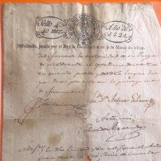 Manuscritos antiguos: TIMBROLOGIA- MANUSCRITO SELLO 4 40 MARAVDS- HABILITADO 1.820- FERNANDO VII- JURADA LA CONSTITU. Lote 162725890