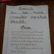 Manuscritos antiguos: CORUÑA, NOIA, MONASTERIO TOXOS OUTOS, 1775, RECLAMACIÓN DEL LUGAR DE OUSOÑO. Lote 162935326