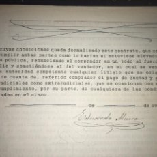 Manuscritos antiguos: GANADERÍA MIURA.SEPTIEMBRE 1912. FIRMA MANUSCRITA DE MIGUEL MIURA. CONTRATO CORRIDA TOROS EN MURCIA.. Lote 163095254