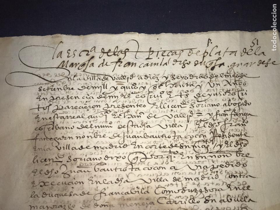 Manuscritos antiguos: VALLADOLID 1581. ESCRITURA DE PIEZAS DE PLATA DE LA DUQUESA DE FRANCAVILLA PODER DE JUAN BAUTISTA. - Foto 3 - 163951714