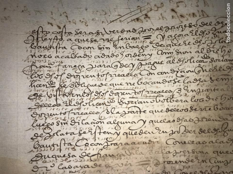 Manuscritos antiguos: VALLADOLID 1581. ESCRITURA DE PIEZAS DE PLATA DE LA DUQUESA DE FRANCAVILLA PODER DE JUAN BAUTISTA. - Foto 7 - 163951714