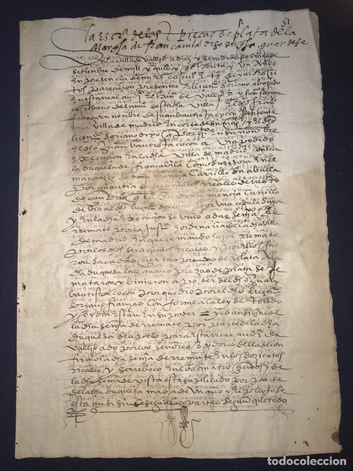 Manuscritos antiguos: VALLADOLID 1581. ESCRITURA DE PIEZAS DE PLATA DE LA DUQUESA DE FRANCAVILLA PODER DE JUAN BAUTISTA. - Foto 2 - 163951714