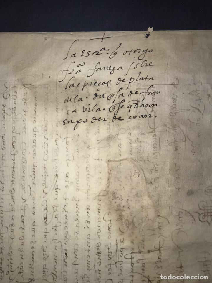 Manuscritos antiguos: VALLADOLID 1581. ESCRITURA DE PIEZAS DE PLATA DE LA DUQUESA DE FRANCAVILLA PODER DE JUAN BAUTISTA. - Foto 8 - 163951714