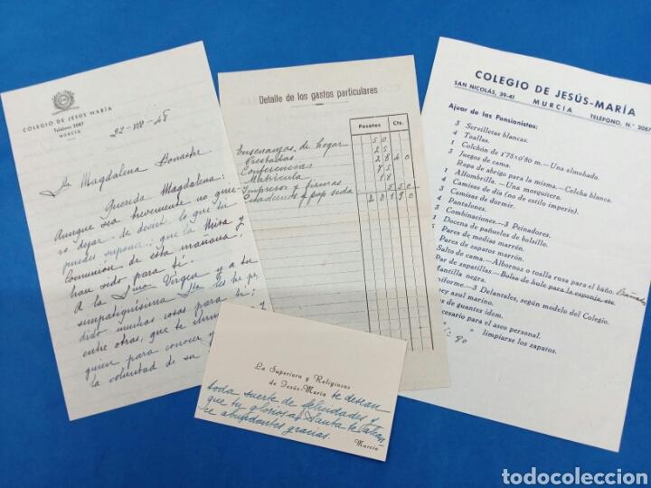 LOTE CARTA , TARJETA , FACTURA Y PROSPECTO DEL COLEGIO DE JESÚS MARÍA , MURCIA 1948 (Coleccionismo - Documentos - Manuscritos)