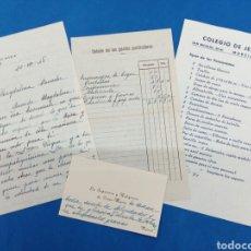 Manuscritos antiguos: LOTE CARTA , TARJETA , FACTURA Y PROSPECTO DEL COLEGIO DE JESÚS MARÍA , MURCIA 1948. Lote 163974134