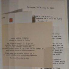 Manuscrits anciens: CARTAS Y DOCUMENTOS ORIGINALES FIRMADAS DE JOSEP TARRADELLAS - EXCEPCIONAL.. Lote 164241758