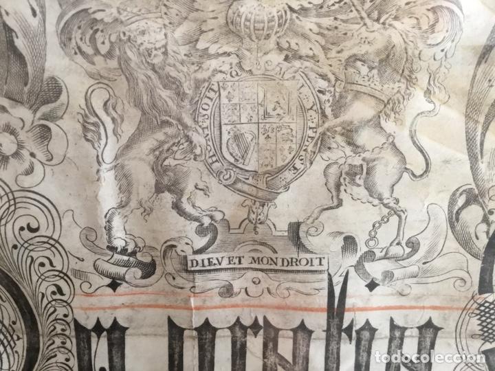 Manuscritos antiguos: Pergamino inglés con escudo real - Foto 2 - 164441804