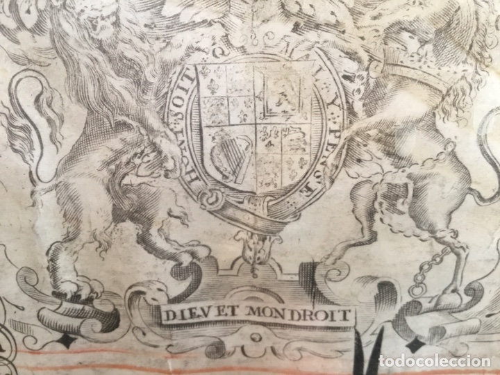Manuscritos antiguos: Pergamino inglés con escudo real - Foto 4 - 164441804