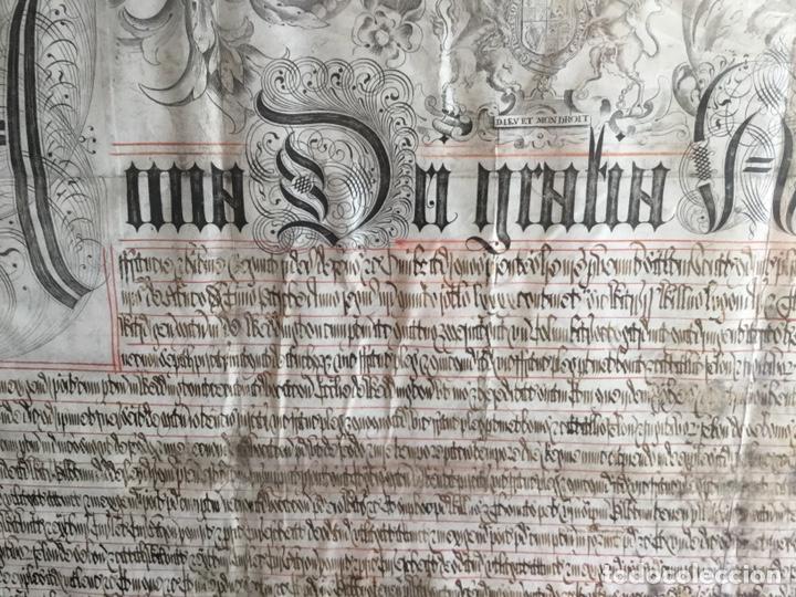 Manuscritos antiguos: Pergamino inglés con escudo real - Foto 5 - 164441804
