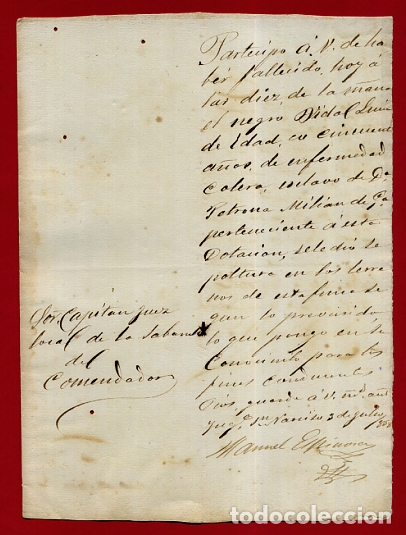 DOCUMENTO ESCLAVOS , CERTIFICADO DEFUNCION DE UN ESCLAVO NEGRO , CUBA 1868 ,ORIGINAL , D11 -28 (Coleccionismo - Documentos - Manuscritos)