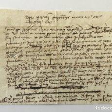 Manuscritos antiguos: [AUMENTO SOBRE EL PRECIO DE UN CENSO. VILANOVA DE MEIÀ.] - [MANUSCRITO SIGLO XV.] 1477. Lote 123267094