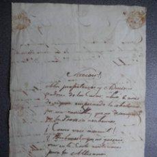 Manuscritos antiguos: RARÍSIMO E IMPORTANTE MANUSCRITO REVOLUCIÓN 1868 PASQUÍN REMITIDO A LA REINA. Lote 165490518