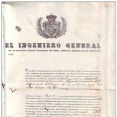 Manuscritos antiguos: E763 CUBA SPAIN ESPAÑA MILITAR DOC. NOMBRAMIENTO DE INGENIEROS 1860. Lote 165919906