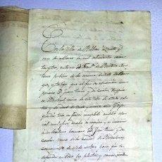 Manuscritos antiguos: DOCUMENTO MANUSCRITO CON SELLO DEL COLEGIO NOTARIAL 1863 Y DOS RESGUARDOS PAGOS AL ESTADO AÑO 1878.. Lote 166182602