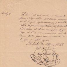 Manuscritos antigos: 1849 MADRID CARTA CON MEMBRETE DEL BANCO AGRICOLA PENINSULAR. Lote 166188610