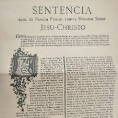Manuscritos antiguos: SENTENCIA DE JESUCRISTO 1700. Lote 166331218