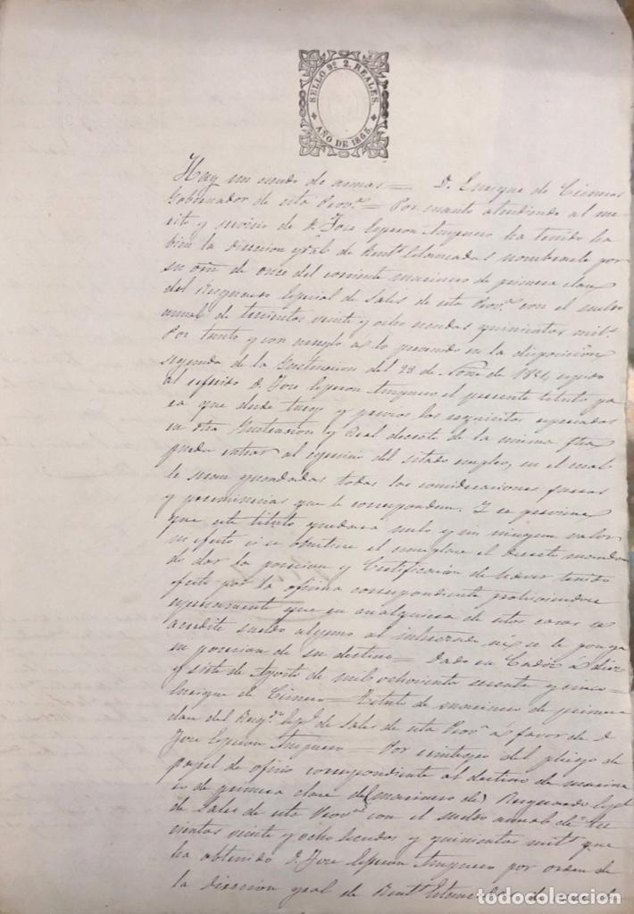 SAN FERNANDO, 1865. NOMBRAMIENTO DE MARINO ESPECIAL DE SALES. (Coleccionismo - Documentos - Manuscritos)
