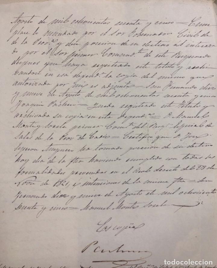 Manuscritos antiguos: SAN FERNANDO, 1865. NOMBRAMIENTO DE MARINO ESPECIAL DE SALES. - Foto 2 - 166381186