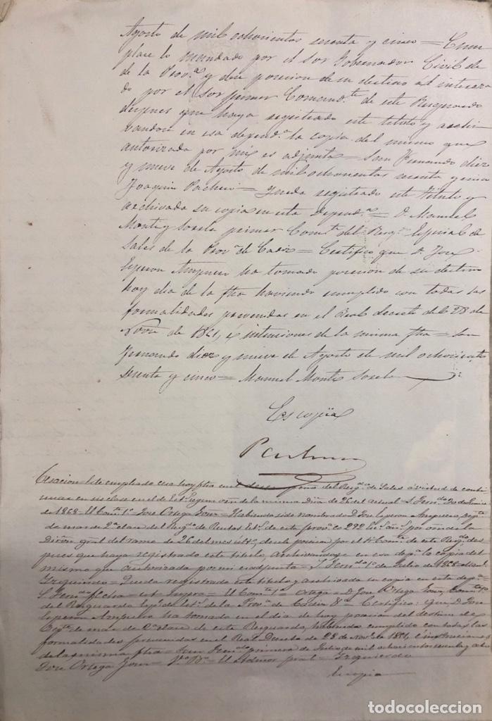 Manuscritos antiguos: SAN FERNANDO, 1865. NOMBRAMIENTO DE MARINO ESPECIAL DE SALES. - Foto 3 - 166381186