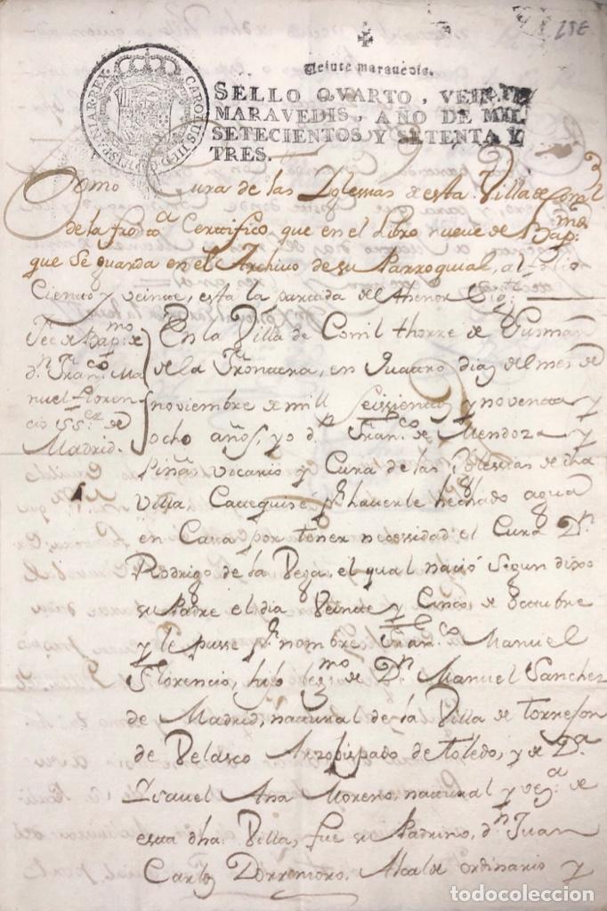 CONIL DE LA FRONTERA, 1698. CERTIFICADO DE BAUTISMO Y PODERES DE UN SACERDOTE PARA EL ACTO. (Coleccionismo - Documentos - Manuscritos)