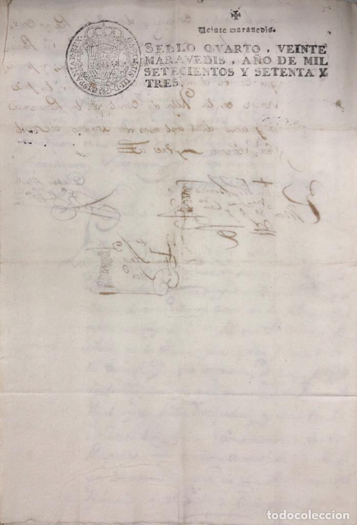 Manuscritos antiguos: CONIL DE LA FRONTERA, 1698. CERTIFICADO DE BAUTISMO Y PODERES DE UN SACERDOTE PARA EL ACTO. - Foto 4 - 166492886