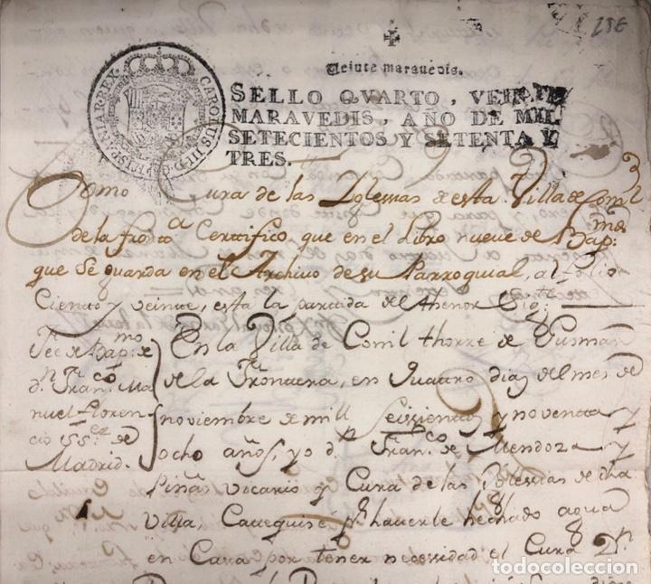 Manuscritos antiguos: CONIL DE LA FRONTERA, 1698. CERTIFICADO DE BAUTISMO Y PODERES DE UN SACERDOTE PARA EL ACTO. - Foto 5 - 166492886