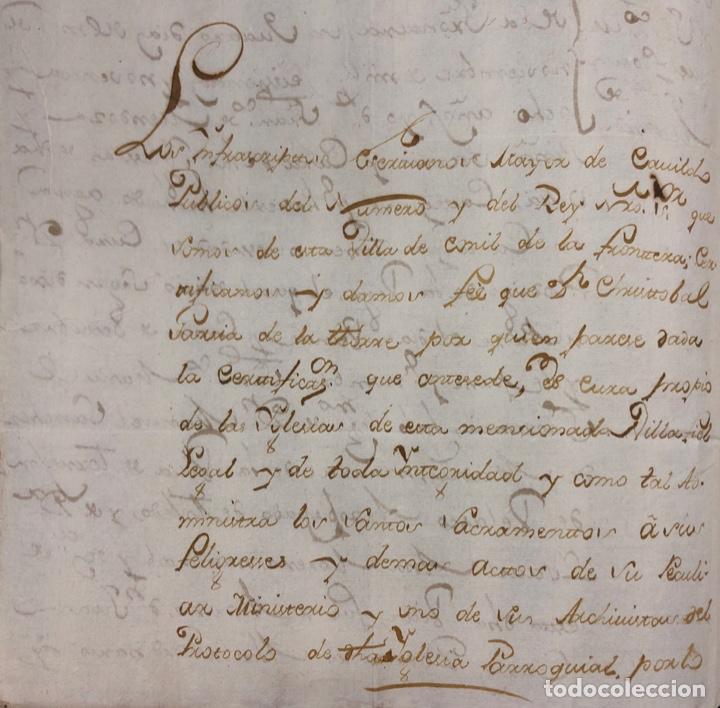 Manuscritos antiguos: CONIL DE LA FRONTERA, 1698. CERTIFICADO DE BAUTISMO Y PODERES DE UN SACERDOTE PARA EL ACTO. - Foto 8 - 166492886
