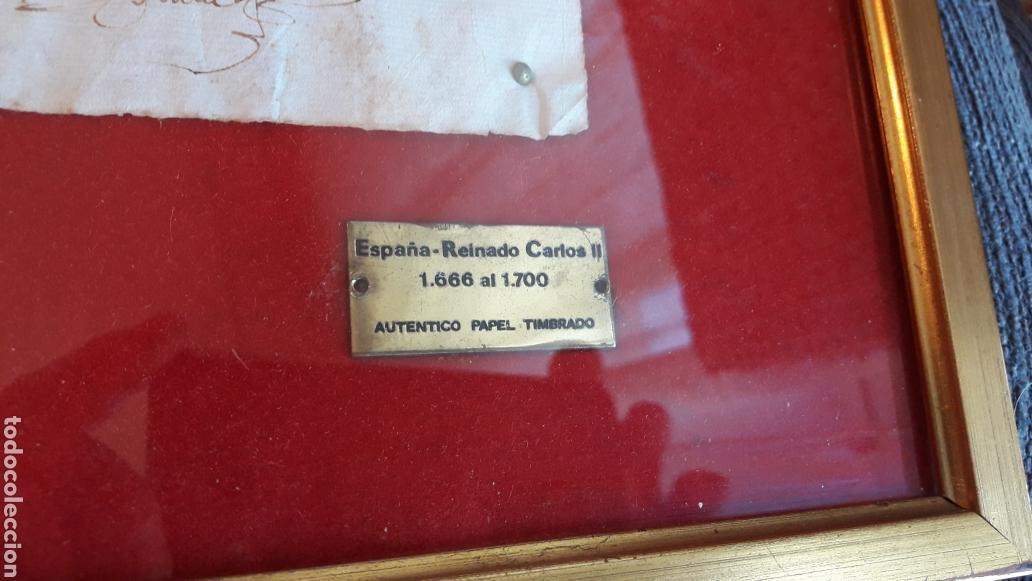 Manuscritos antiguos: AUTÉNTICO PAPEL TIMBRADO 1666-1700 (enmarcado) - Foto 4 - 166635744