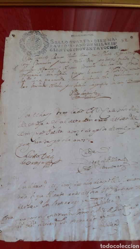 AUTÉNTICO PAPEL TIMBRADO 1666-1700 (ENMARCADO) (Coleccionismo - Documentos - Manuscritos)