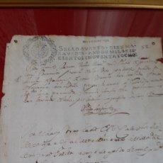 Manuscritos antiguos: AUTÉNTICO PAPEL TIMBRADO 1666-1700 (ENMARCADO). Lote 166635744
