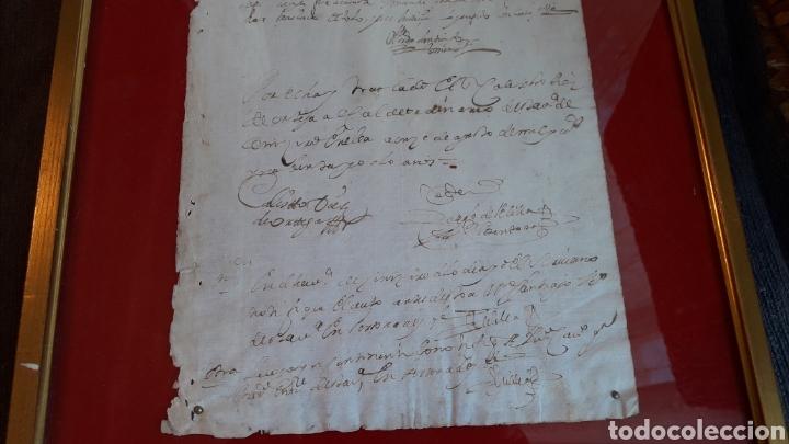 Manuscritos antiguos: AUTÉNTICO PAPEL TIMBRADO 1666-1700 (enmarcado) - Foto 3 - 166635744