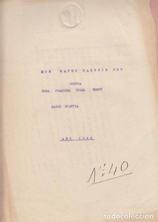 1940 ALBERIQUE (VALENCIA) PLEITO POR PAGO DE PRESTAMO EN MONEDA ROJA (Coleccionismo - Documentos - Manuscritos)