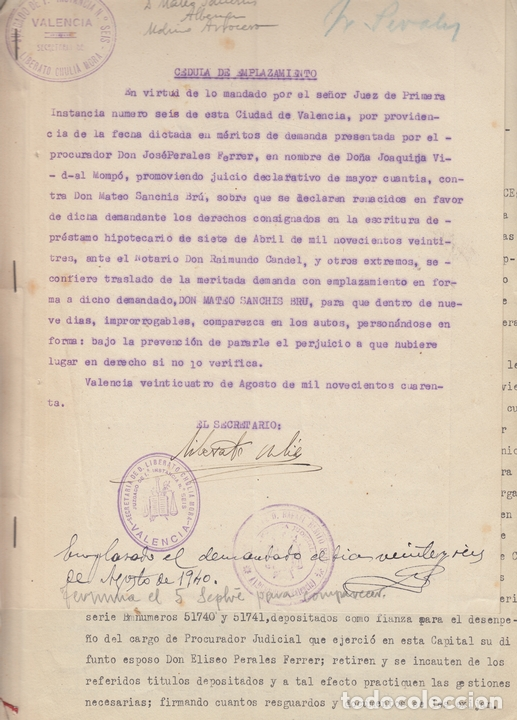 Manuscritos antiguos: 1940 ALBERIQUE (VALENCIA) PLEITO POR PAGO DE PRESTAMO EN MONEDA ROJA - Foto 3 - 167741848