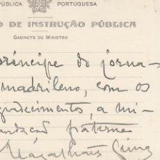 Manuscritos antiguos: PORTUGAL. SEBASTIAO MAGALHAES LIMAS. TARJETA MANUSCRITA, FIRMADA Y FECHADA EN LISBOA, 1915,. Lote 168649584