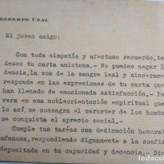 Manuscritos antiguos: CARTA FIRMADA POR ROBERTO UZAL. Lote 168719280