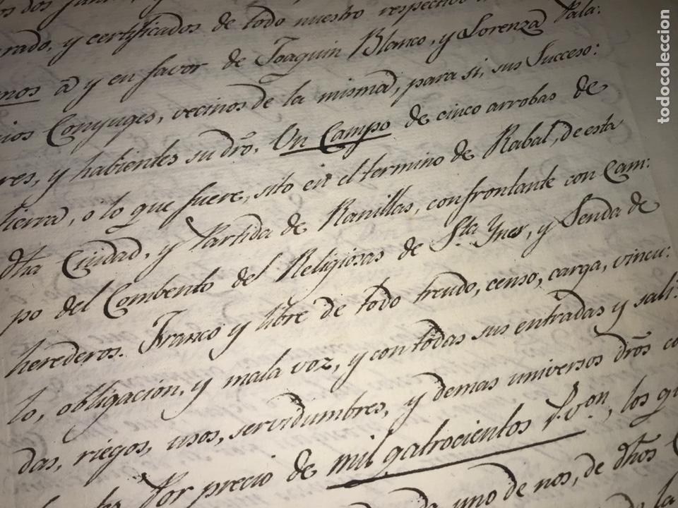 Manuscritos antiguos: ZARAGOZA. 1824. TERMINO DE RABAL, RANILLAS. VENDICIÓN DE UN CAMPO. FIRMA NOTARIO. - Foto 3 - 168832592