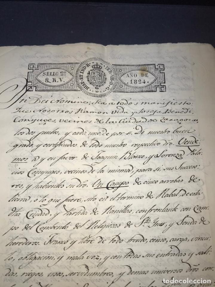 ZARAGOZA. 1824. TERMINO DE RABAL, RANILLAS. VENDICIÓN DE UN CAMPO. FIRMA NOTARIO. (Coleccionismo - Documentos - Manuscritos)
