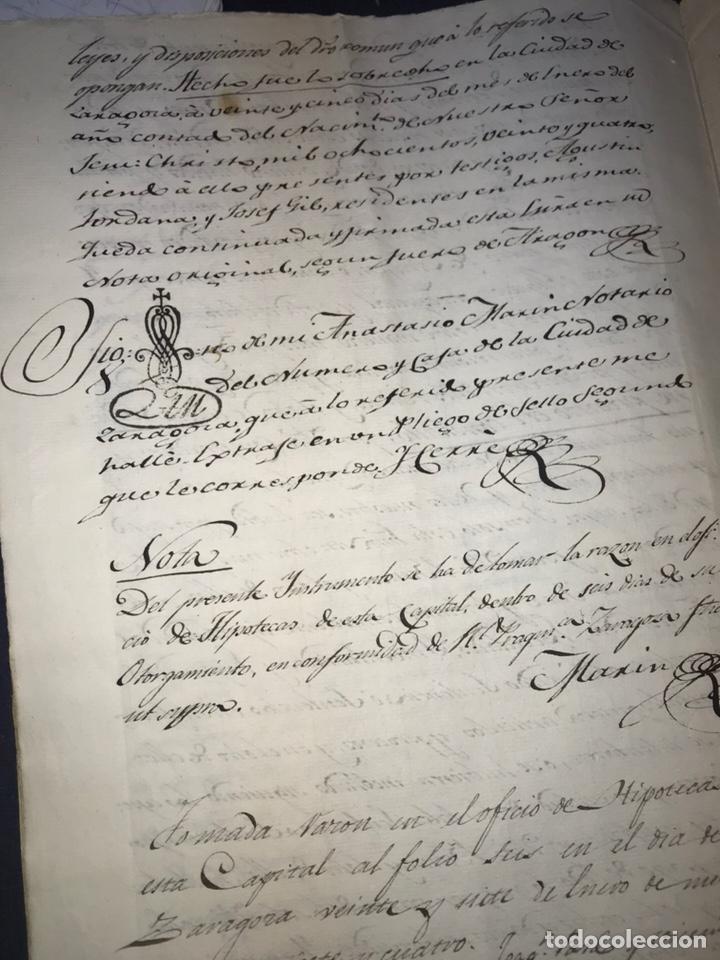 Manuscritos antiguos: ZARAGOZA. 1824. TERMINO DE RABAL, RANILLAS. VENDICIÓN DE UN CAMPO. FIRMA NOTARIO. - Foto 4 - 168832592