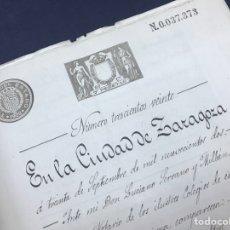 Manuscritos antiguos: 1902. ZARAGOZA. VENTA TERRENO RABAL. PARTIDA DE SOTO CAÑAR, CONFRONTA CAMINO DEL VADO.. Lote 168950928