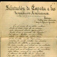 Manuscritos antiguos: SALUTACIÓN DE ESPAÑA A LAS REPÚBLICAS AMERICANAS - POEMA DE MANUEL DE GÓNGORA - 1929. Lote 169132952