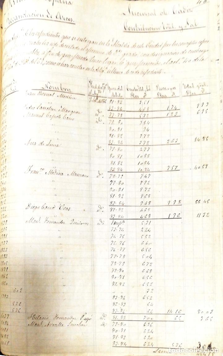 Manuscritos antiguos: ARCOS DE LA FRONTERA. 1885. EXPEDIENTE DE HACIENDA. RELACION DE DEUDORES. - Foto 2 - 169267280