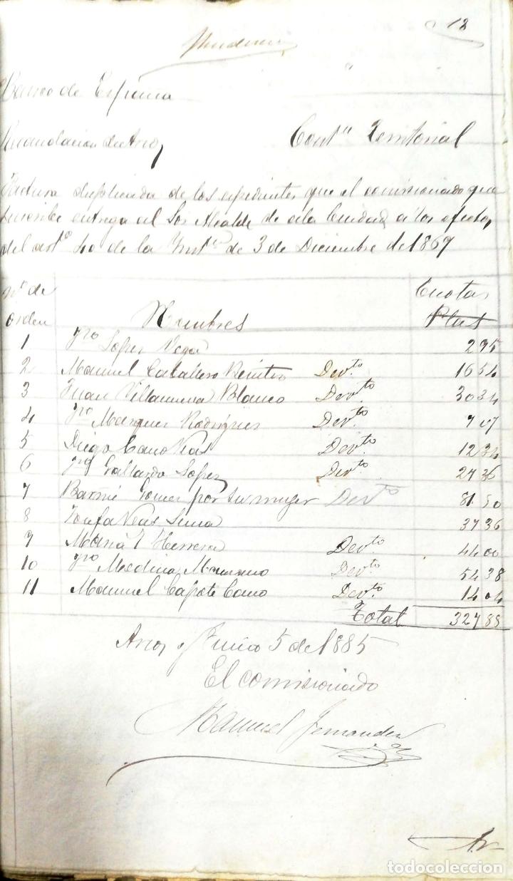 Manuscritos antiguos: ARCOS DE LA FRONTERA. 1885. EXPEDIENTE DE HACIENDA. RELACION DE DEUDORES. - Foto 32 - 169267280