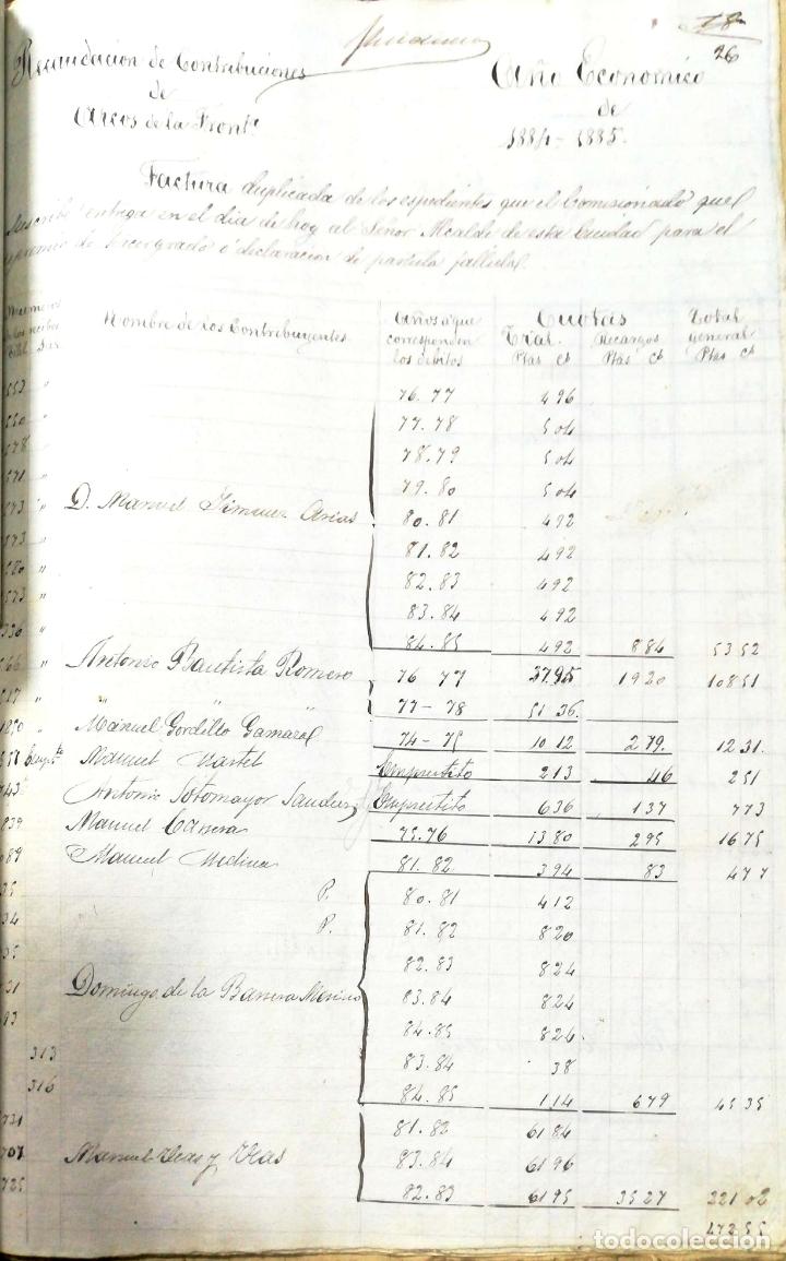 Manuscritos antiguos: ARCOS DE LA FRONTERA. 1885. EXPEDIENTE DE HACIENDA. RELACION DE DEUDORES. - Foto 36 - 169267280