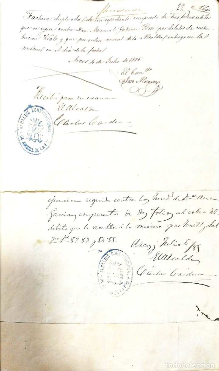 Manuscritos antiguos: ARCOS DE LA FRONTERA. 1885. EXPEDIENTE DE HACIENDA. RELACION DE DEUDORES. - Foto 55 - 169267280