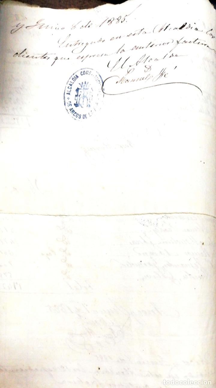 Manuscritos antiguos: ARCOS DE LA FRONTERA. 1885. EXPEDIENTE DE HACIENDA. RELACION DE DEUDORES. - Foto 58 - 169267280