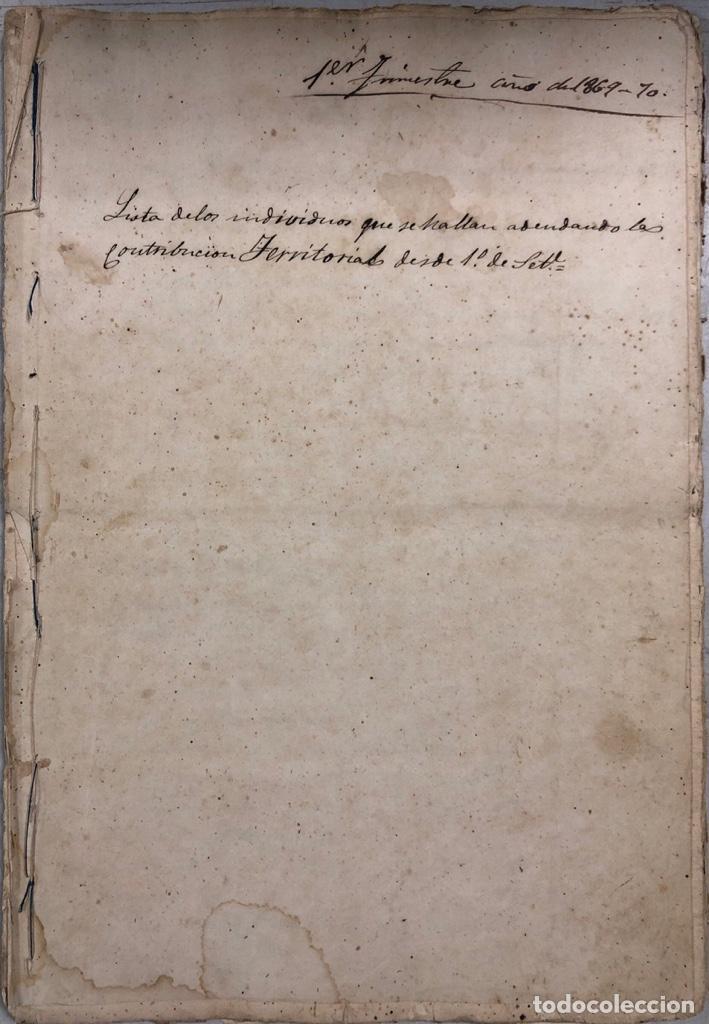 ARCOS DE LA FRONTERA, 1869-70. RELACION DE DEUDORES DE LA CONTRIBUCION TERRITORIAL. LISTA TRIMESTRAL (Coleccionismo - Documentos - Manuscritos)