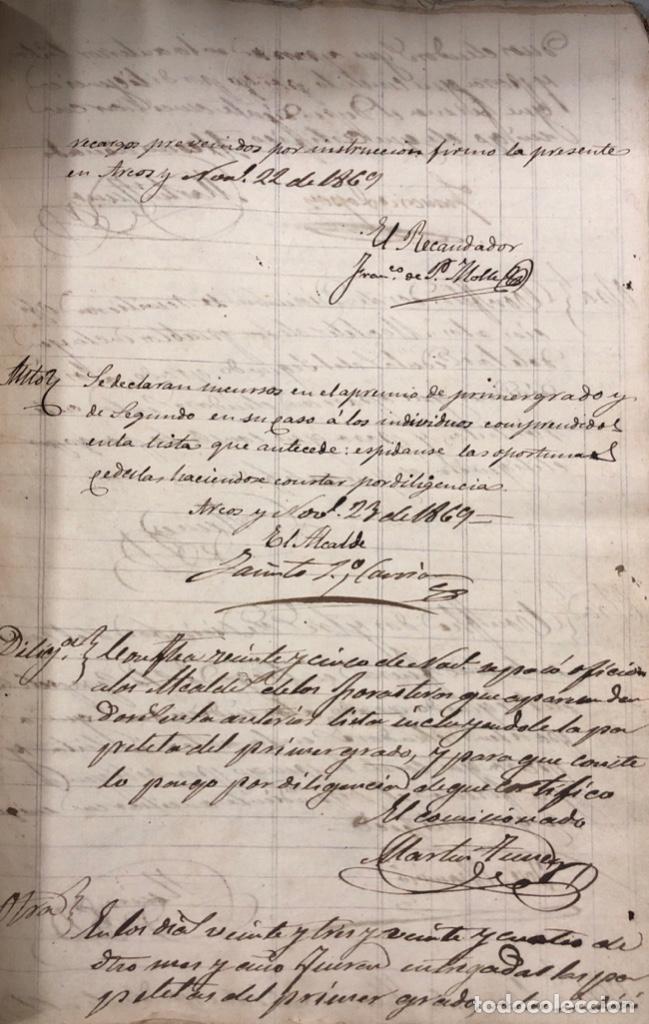 Manuscritos antiguos: ARCOS DE LA FRONTERA, 1869-70. RELACION DE DEUDORES DE LA CONTRIBUCION TERRITORIAL. LISTA TRIMESTRAL - Foto 29 - 169270744