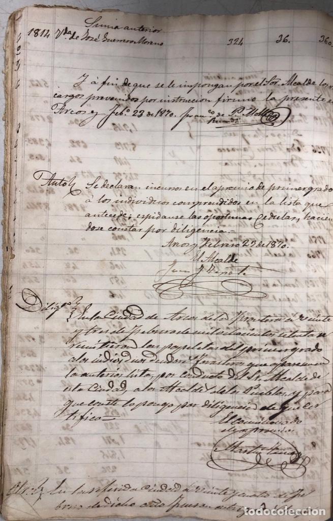 Manuscritos antiguos: ARCOS DE LA FRONTERA, 1869-70. RELACION DE DEUDORES DE LA CONTRIBUCION TERRITORIAL. LISTA TRIMESTRAL - Foto 48 - 169270744