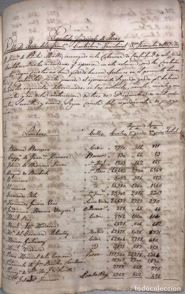 Manuscritos antiguos: ARCOS DE LA FRONTERA, 1869-70. RELACION DE DEUDORES DE LA CONTRIBUCION TERRITORIAL. LISTA TRIMESTRAL - Foto 55 - 169270744